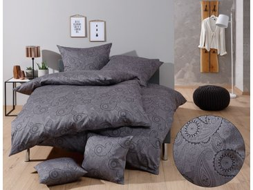 Mako Satin Damast Paisley Bettwäsche schwarz grau 135x200 Baumwolle
