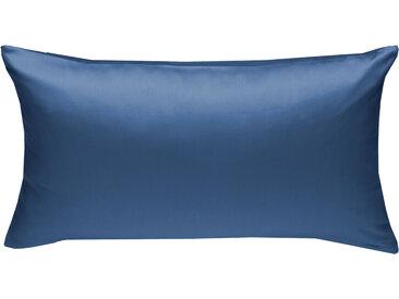 Mako Satin Kissenbezug uni jeans blau 40x80 cm