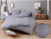 Mako Satin Damast Paisley Bettwäsche weiß grau 135x200 Baumwolle