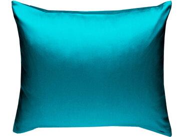 Mako Satin Kissenbezug uni petrol blau 80x80 cm