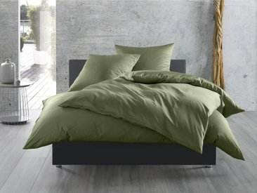 Mako Satin Bettwäsche uni dunkelgrün 135x200
