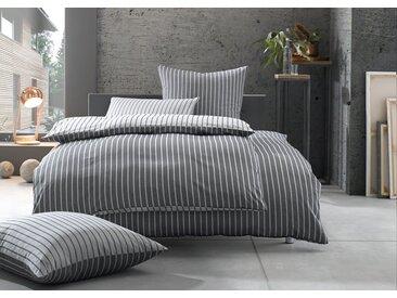 Damast Mako Satin Streifen Wende Bettwäsche 200x200 schwarz - grau