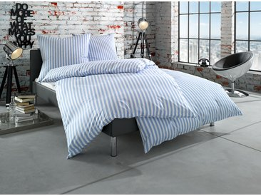 Mako Perkal Landhaus Bettwäsche 135x200 hellblau Streifen