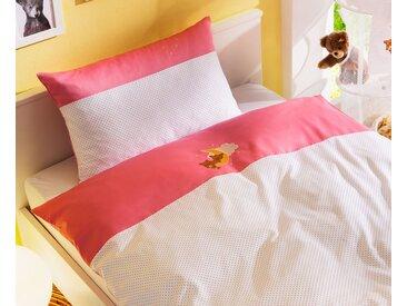 Mako Satin Kinder Bettwäsche Punkte / Bär 100x135 rosa