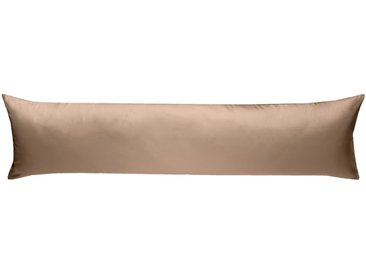 Mako Satin Seitenschläferkissenbezug uni hellbraun 40x145 cm
