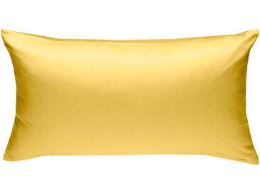 Mako Satin Kissenbezug uni gelb 40x80 cm