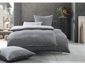 Damast Mako Satin Streifen Wende Bettwäsche 135x200 schwarz - grau