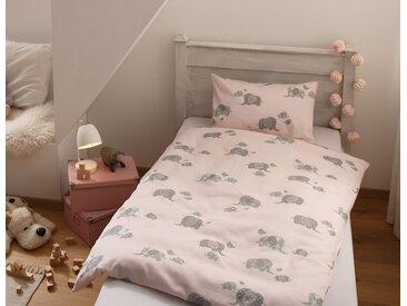 Mako Satin Mädchen Kinder Bettwäsche Elefant 100x135 rosa