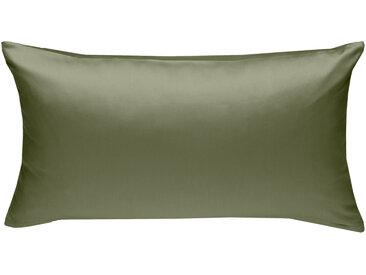 Mako Satin Kissenbezug uni olivgrün 40x80 cm