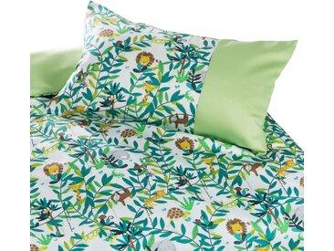 Mako Satin Kinderbettwäsche Dschungel Faultier Affe Löwe 100x135 100% Baumwolle