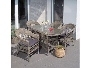 Garten Sitzgruppe Bornholm, 4 Sessel + ovaler Tisch