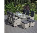 Garten Sitzgruppe Marbella - Poly Rattan, inkl. 2 Hocker, Hellgrau