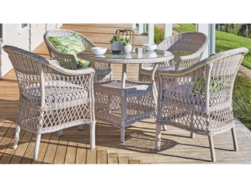 Garten Sitzgruppe Bornholm, 4 Sessel + runder Tisch