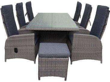 Gartenmöbel-Set / Sitzgruppe 'Marbella', inkl. 2 Hocker, Dunkelgrau