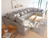 Wohnlandschaft Clovis XL Hellgrau Strukturstoff Modulsofa Armlehne, Design Wohnlandschaften, Couch Loft, Modulsofa, modular