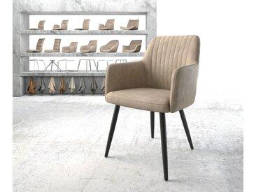 DELIFE Armlehnstuhl Greg-Flex Beige Vintage 4-Fuß konisch Schwarz, Esszimmerstühle