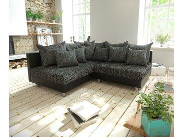 DELIFE Ecksofa Clovis Schwarz Ottomane Links modular erweiterbar, Design Ecksofas, Couch Loft, Modulsofa, modular