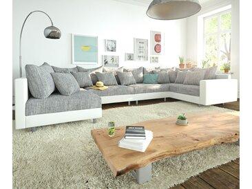 DELIFE Wohnlandschaft Clovis XL Weiss Hellgrau Modulsofa Armlehne, Design Wohnlandschaften, Couch Loft, Modulsofa, modular