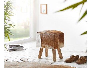 DELIFE Sitzhocker Koza 40x30 cm Braun Ziegenfell Teakholz, Sitzhocker / Sitzwürfel