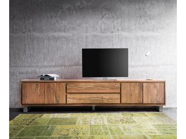 DELIFE Lowboard Live-Edge 300 cm Akazie Natur 4 Türen 2 Schübe, Fernsehtische, Baumkantenmöbel, Massivholzmöbel, Massivholz
