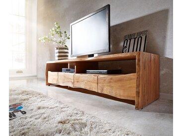 DELIFE Lowboard Live-Edge 230 cm Akazie Natur massiv 4 Schübe, Fernsehtische, Baumkantenmöbel, Massivholzmöbel, Massivholz