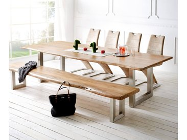DELIFE Baumtisch Live-Edge 300x100 Akazie Natur Platte 3,5 cm Gestell breit, Esstische, Baumkantenmöbel, Massivholzmöbel, Massivholz