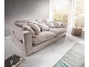 DELIFE Hussensofa Noelia 240x145 cm Hellgrau mit Kissen, Big Sofas
