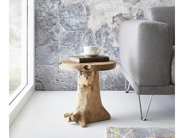 DELIFE Sitzhocker Ogan 40x35 cm Teak Natur Massivholz, Sitzhocker / Sitzwürfel