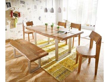 DELIFE Baumtisch Live-Edge 180x100 Akazie Natur Platte 5,5 Gestell schmal, Esstische, Baumkantenmöbel, Massivholzmöbel, Massivholz