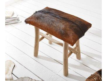 DELIFE Sitzhocker Koza 50x30 cm Ziegenfell Braun Teakholz, Sitzhocker / Sitzwürfel