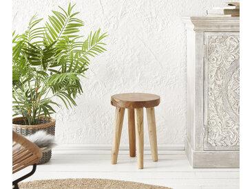 DELIFE Sitzhocker Sanora 30x30 cm Teak Natur, Sitzhocker / Sitzwürfel