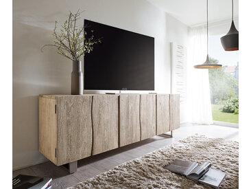 DELIFE Sideboard Live-Edge 220 cm Akazie Champagner massiv 6 Türen, Sideboards, Baumkantenmöbel, Massivholzmöbel, Massivholz