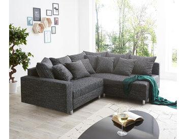 DELIFE Ecksofa Clovis Schwarz Strukturstoff mit Armlehne Ottomane Rechts, Design Ecksofas, Couch Loft, Modulsofa, modular