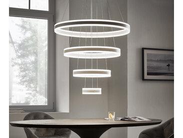 DELIFE Deckenleuchte Strale weiss D80x140 cm LED 4 Ringe Designlampe, Hängeleuchten