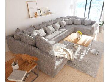 DELIFE Wohnlandschaft Clovis XL Hellgrau Strukturstoff Modulsofa Armlehne, Design Wohnlandschaften, Couch Loft, Modulsofa, modular