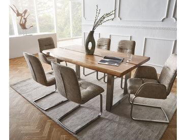 DELIFE Baumtisch Live-Edge 180x100 Akazie Natur Platte 5,5 Gestell breit, Esstische, Baumkantenmöbel, Massivholzmöbel, Massivholz