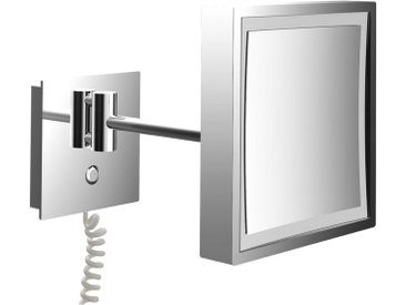 LED Wand-Kosmetikspiegel, 203x203 mm, Direktanschluss/Spiralkabel, 3-fach