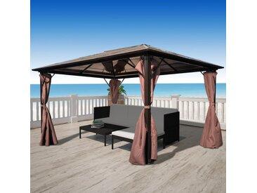 vidaXL Pavillon mit Vorhängen Braun Aluminium 400 x 300 cm