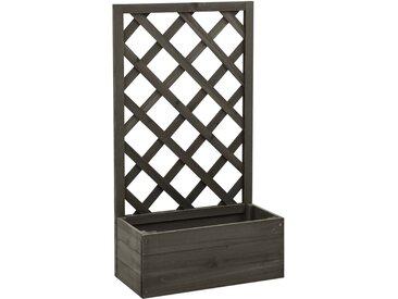 vidaXL Garten-Spalier mit Blumenkasten Grau 50x25x90 cm Tannenholz