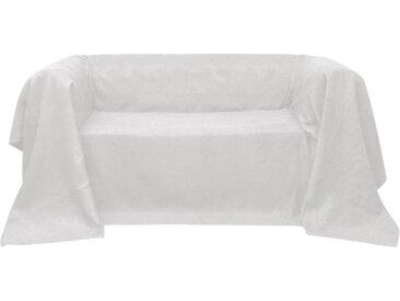 vidaXL Micro-Suede Sofaüberwurf Tagesdecke Creme 270 x 350 cm