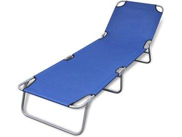 vidaXL Klappbare Sonnenliege Pulverbeschichteter Stahl Blau