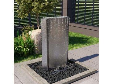 vidaXL Gartenbrunnen Silbern 60,2×37×122,1 cm Edelstahl