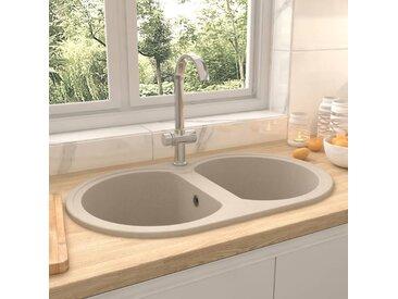 vidaXL Küchenspüle Doppelbecken Oval Beige Granit