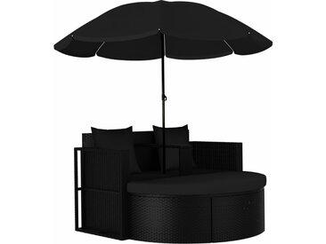 vidaXL Gartenbett mit Sonnenschirm Poly Rattan Schwarz