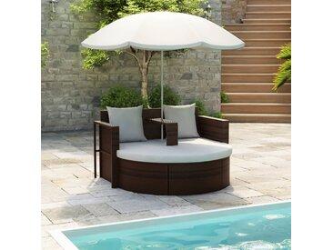 vidaXL Gartenbett mit Sonnenschirm Braun Poly Rattan