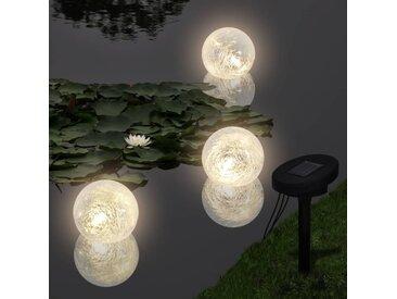vidaXL Schwimmleuchte Solarkugeln Schwimmkugeln 3er LED