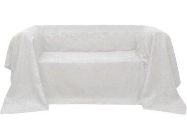 vidaXL Micro-Suede Sofaüberwurf Tagesdecke Creme 210 x 280 cm