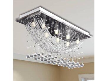 vidaXL Weiße Deckenlampe mit funkelnden Glasperlen 8 x G9 29 cm