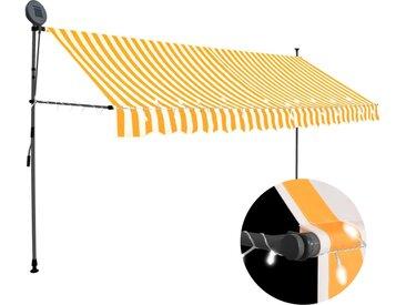 vidaXL Einziehbare Markise Handbetrieben mit LED 400 cm Weiß Orange