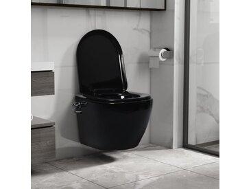vidaXL Wand-WC ohne Spülrand mit Bidet-Funktion Keramik Schwarz